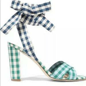 J Crew Mixed Gingham Sandals with Ankle Strap